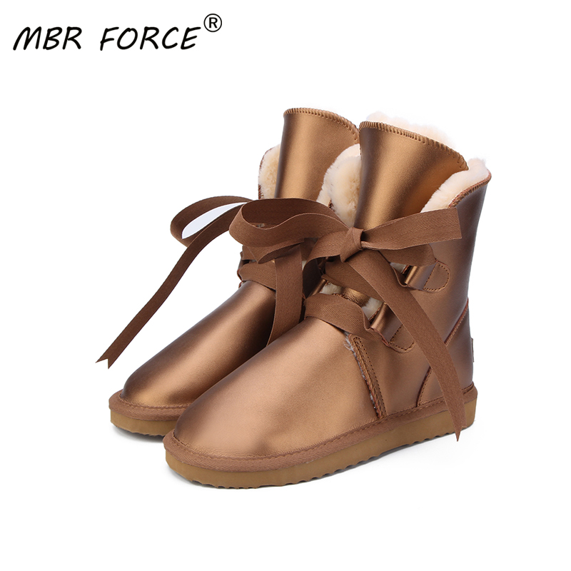 MBR FORCE Australia High Quality Women Snow Boots Genuine Leather waterproof Boots Fur Winter Boots Warm Thick Women Boots