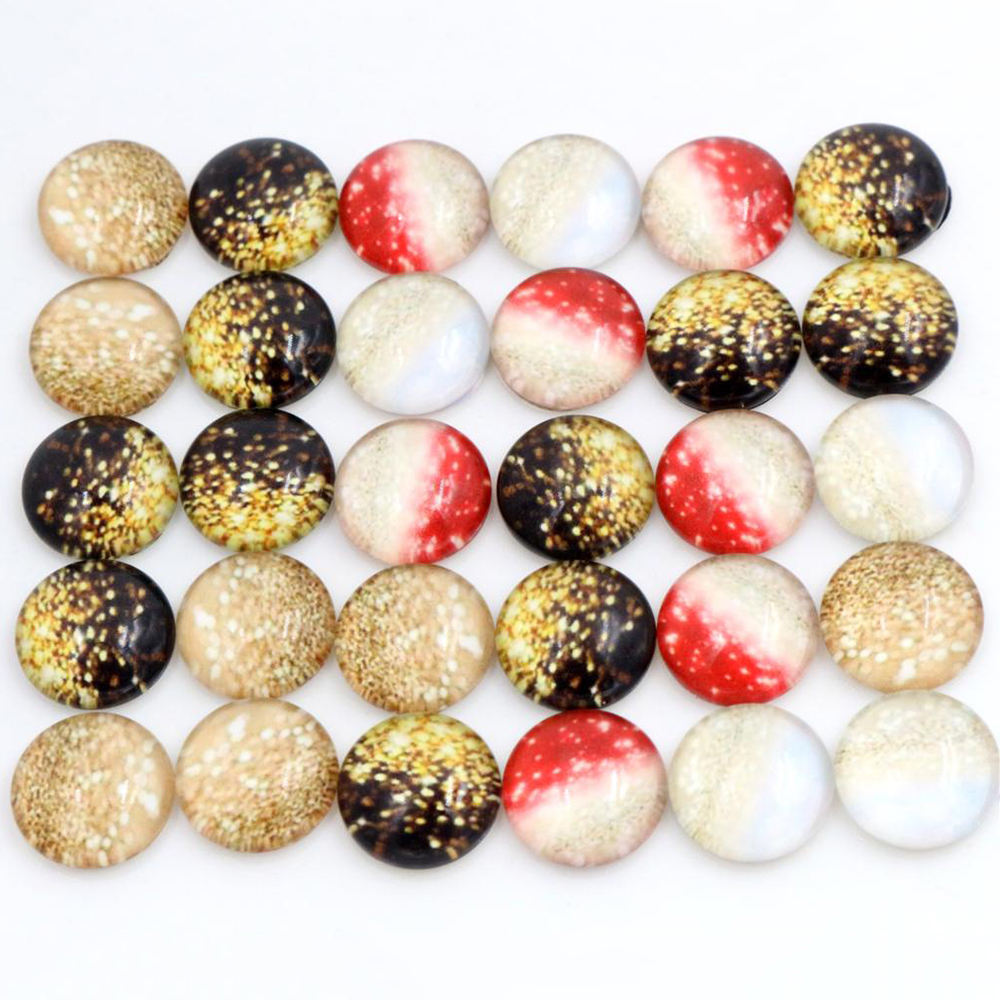 50pcs/Lot 12mm Photo Glass Cabochons Mixed Color Cabochons For Bracelet Earrings Necklace Bases Settings-E6-22