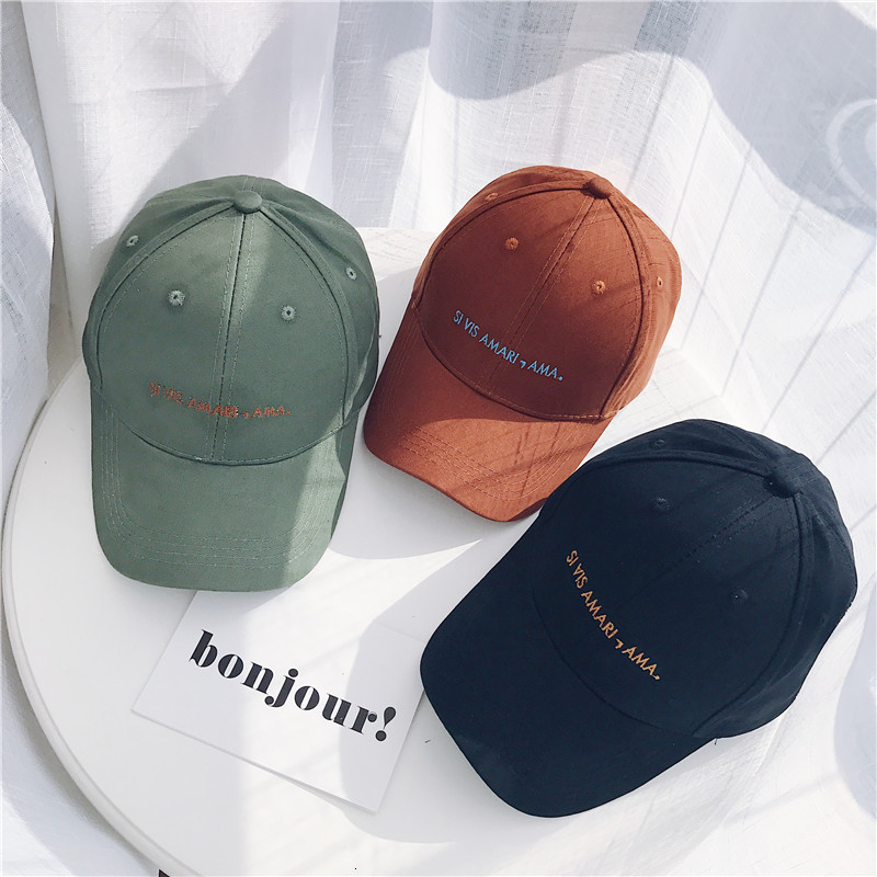 2019 Spring Autumn New Korean Version Letter Embroidery Baseball Hat Fashion Leisure Duck Tongue Hat Youthful Solid Color Bonnet