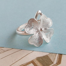 Four Leaf Clover Flower 999 Sterling Silver Women Rings Adjustable Engagement Silver Ring Wedding Luxury Jewelry Boho Handmade new luxury female engagement ring wedding silver color four leaf clover for women jewelry