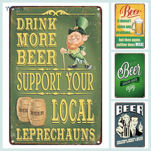DRINK MORE BEER Plaque Cocktail Metal Tin Signs Rustic Wine Poster Vintage Wall Art Pub Bar Home Party Casino Decor 20x30cm