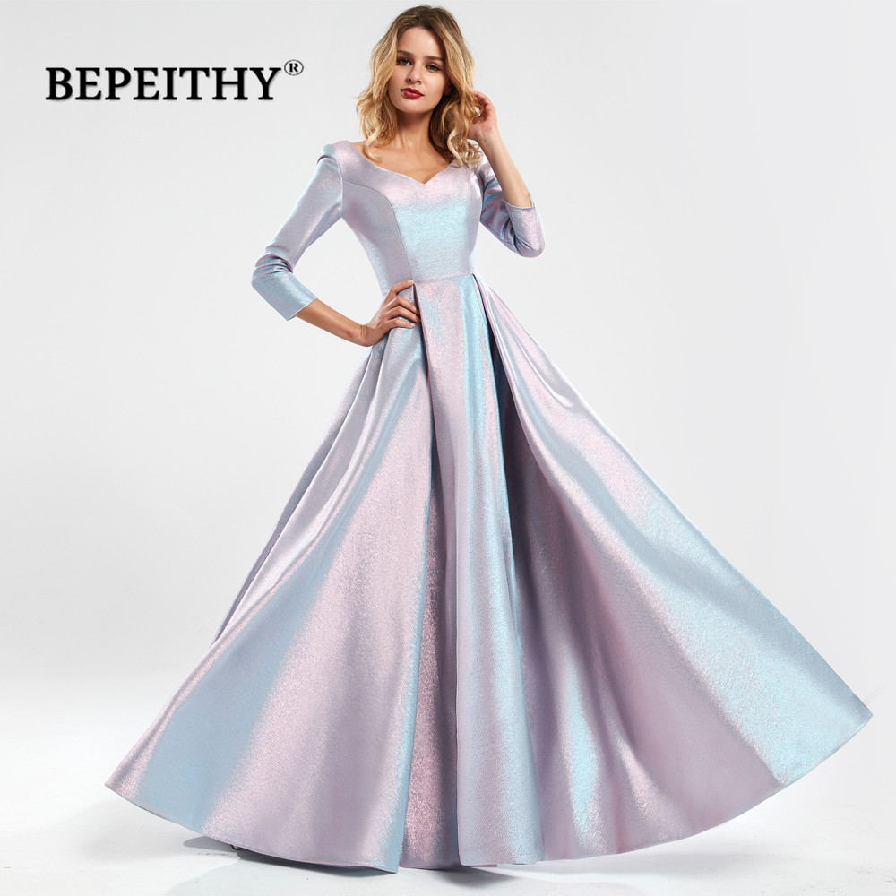 BEPEITHY Glitter A-Line Long Evening Dress With Three Quarter Sleeves Vintage Robe De Soiree V-neck PromDresses 2020