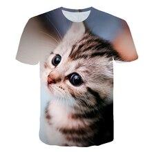 футболка Boys Oversized T-Shirt Summer 2021 Children's Cute Cartoon Cat 3D Printed O Neck Short Sleeve Cool Casual Tee Tops