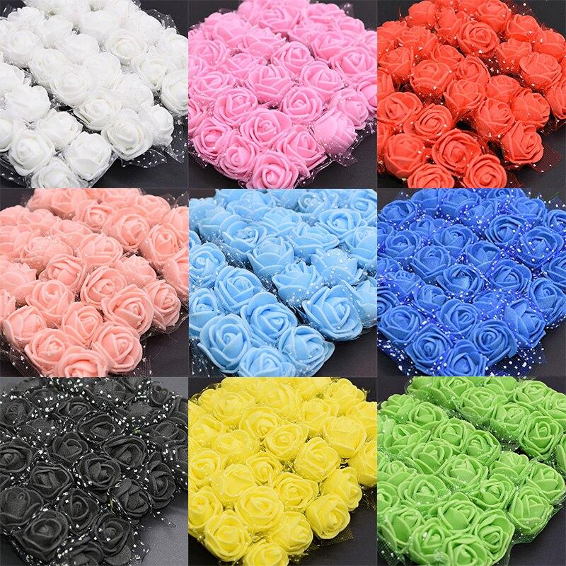 144 Pcs Foam Rose Heads Bride Wedding Bouquet Decor Artificial Flower Floral US
