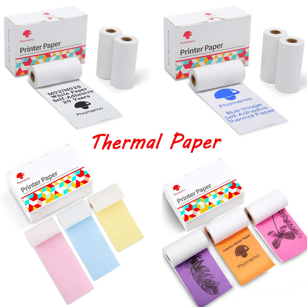 Phomemo Cetak Stiker Kertas Thermal Stiker Self-Perekat Rolling Printer Stiker Label Cetak Printer Foto Kertas