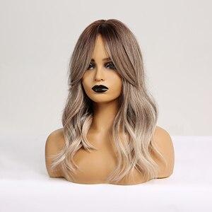 Image 2 - Cheveux synthétiques bruns, blonds et ombrés, pour femmes noires, perruque de Cosplay, vague moyenne, résistante à la chaleur, pour femmes noires