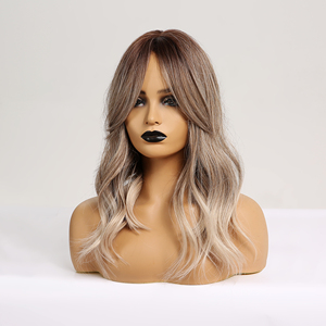 Image 5 - Easihairウェーブかつら前髪オンブル茶色ブロンド合成かつら女性ボディ波状ウィッグ耐熱ウィッグ