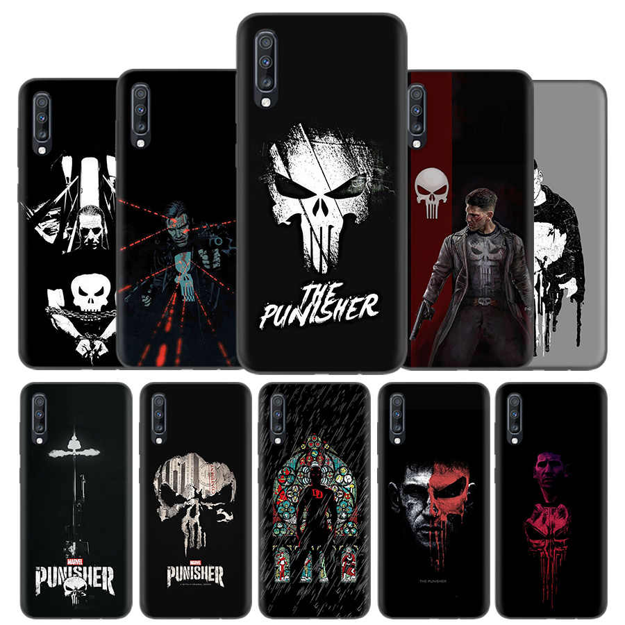 Tampa Da Caixa Do Silicone Para Samsung Galaxy A50 A80 A70 A40 A30 A20 A20e A10 A9 A8 A7 A6 Nota 8 9 10 Plus 2018 5G Marvel Punisher