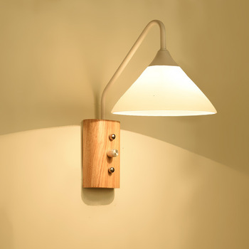 Bedroom Bedside Reading Wall Lamp Single Head Solid Wood Hotel Guest Room Wall Lamp with Switch Studio Wood Wall Lamp