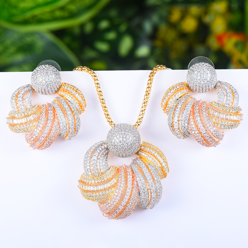 LARRAURI Rmantic Unique Bridal Wedding Statement Jewelry Set For Women Birthday Gift Earrings Necklace Pendant  Jewelry Sets