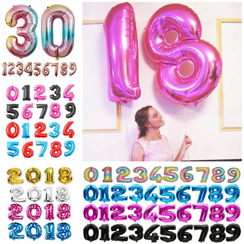 """32/"""" GIANT Foil Number Balloons Air Baloons Large Happy Birthday Party Ballons UK"""