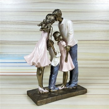 Holiday Family Sculpture Handmade Resin Statue 2