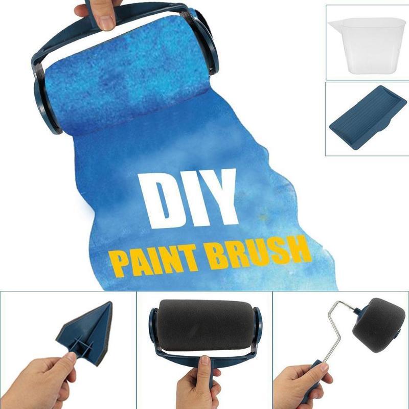 GH 8pcs Paint Runner Roller Brush Handle Tool Flocked Edger Office Room Wall Painting Home Tool Roller Paint Brush Set Dropship