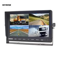 DIYSECUR 10 Split Quad Display Color Rear View Monitor Car Monitor for Car Truck Bus Reversing Camera