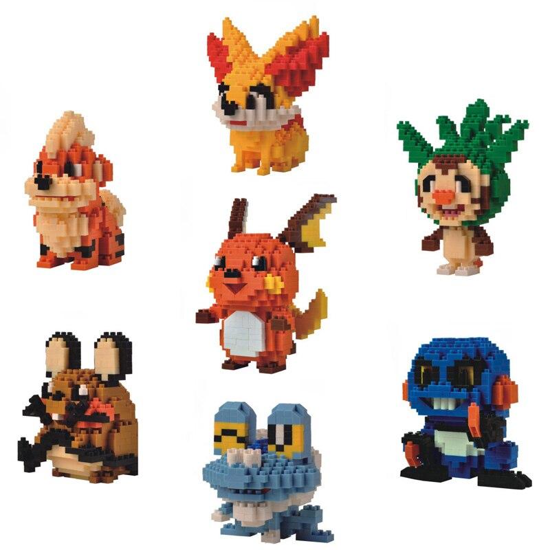LNO Mini Building Blocks Growlithe Dedenne Raichu Chespin Cartoon Pocket Monsters Brick Model Games Toys for Collection Block
