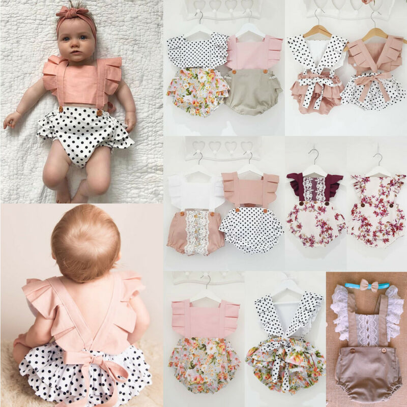 Newborn Infant Toddler Baby Girl Lace Summer Cotton Bodysuit Sleeveless Sunsuit Clothes Sleeveless Floral Kit Clothing 0 To 24M