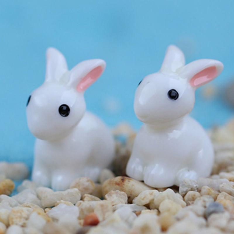 10pcs Mini Rabbit Animal Miniature Fairy Garden Decoration Doll Home Crafts Decor Ornament Toys