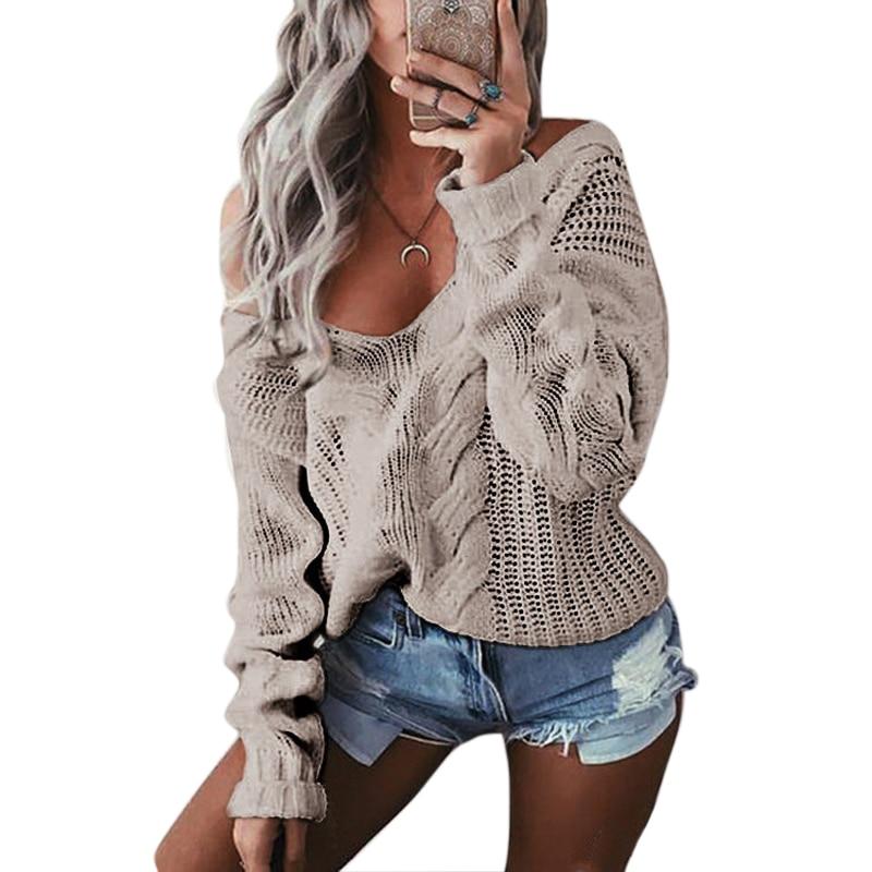 SHUJIN Spring Deep V-Neck  Knitted Sweaters Women Long Sleeve Off Shoulder Sweater Femme Outwear Sweater 2020