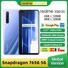Versão global realme x50 5g smartphone 6gb/8gb 128gb snapdragon 765g 6.57 display cameras 120hz exibir 48mp quad câmeras traseiras 30w 4200mah