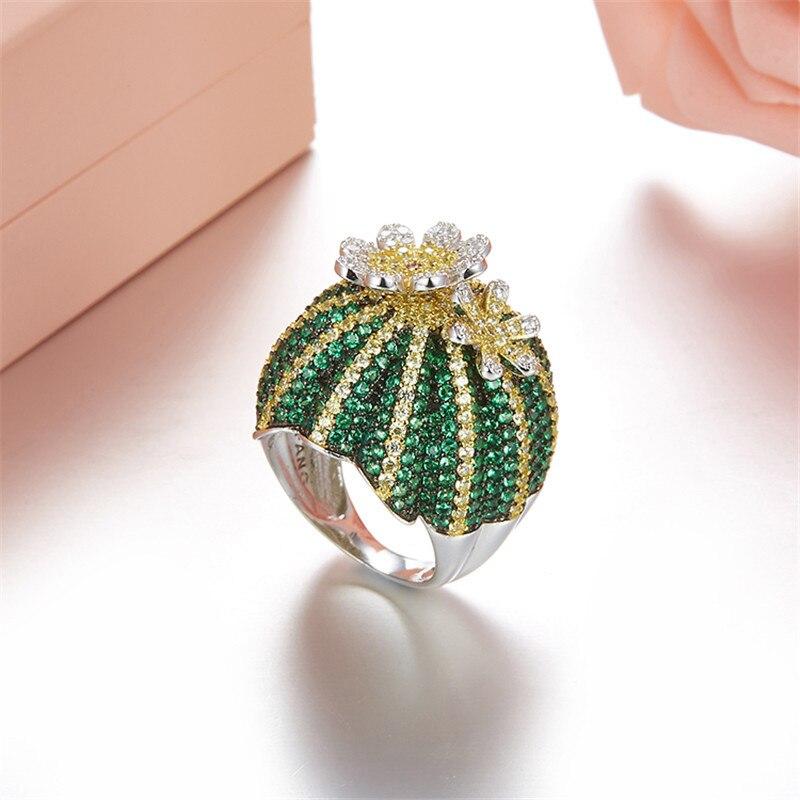 Mignon 925 en argent Sterling vert Cactus bague pavé vert Zircon pierre anneau mobile fleur pétale femmes fête bijoux - 5