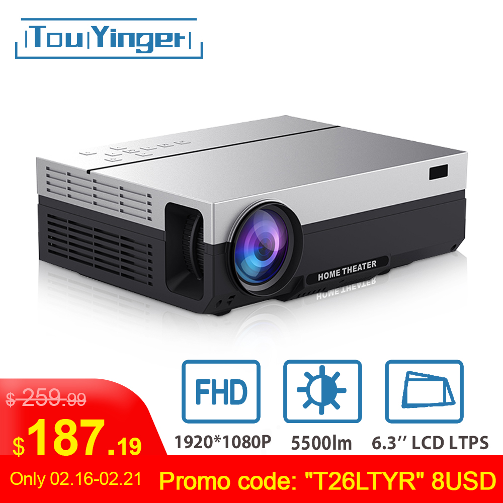 Touyinger Projector Video Beamer Native LED T26L Android Home Cinema HDMI Lumen 5500 title=