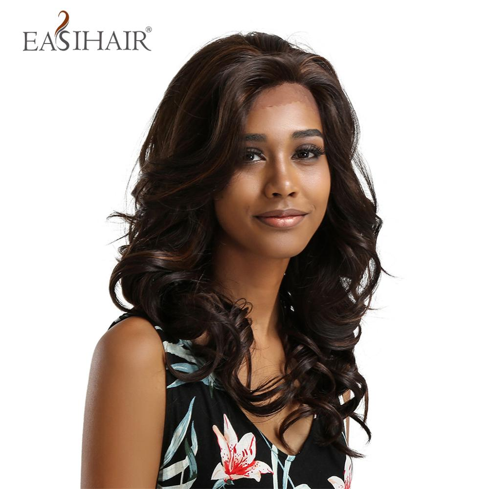 EASIHAIR Long Wave Dark Brown Lace Front Wig High Density Heat Resistant Synthetic Wigs for Black Women Natural Hair Gluless Wig