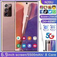 N20U Smartphone tam ekran 8-core 256GB yeterli güç Android 10 Snapdragon 865 + parmak yüz kimlik çift kamera 4G akıllı cep telefonu