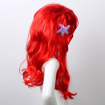 Kids Girls Princess Dress up Red Wigs Hair with Starfish Clip Headwear Halloween Anime Cosplay Costume Mermaid Accessories - discount item  27% OFF Costumes & Accessories