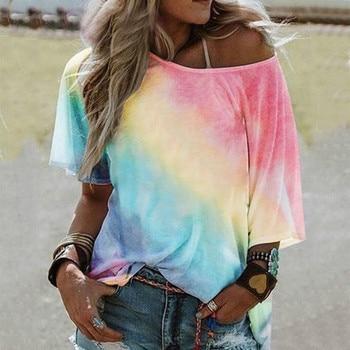 Women's Summer Tie-dye Printed T-Shirt Off Shoulder Loose Tee Top Fashion Streetwear T-Shirt For Ladies Roupas Feminina 1