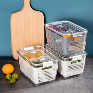 Storage-Containers Crisper Refrigerator Drain Vegetable Fruit Plastic Kitchen White