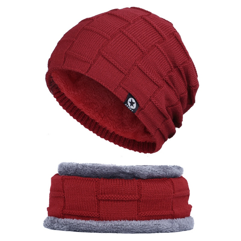 New Newest  Hat Ski Cap Scarf Set Neck Warmers Caps Men Women Winter Warm Knit Beanie Baggy Wool Skull Tools