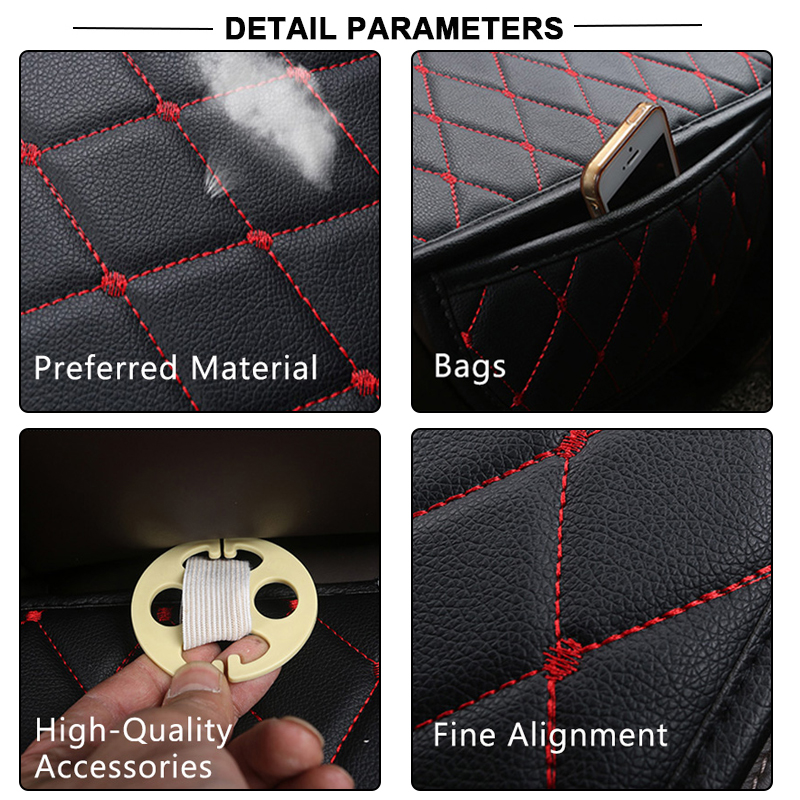 Image 4 - Automobiles Seat Covers Car Cushion PU Leather Universal Auto Interior Accessories Four Season Protect Set Chair Mat Car styling