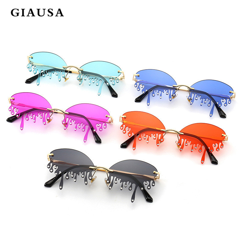 GIAUSA New Design Women Cat Eye Sunglasses Retro Metal Frame Flame Style Women Sun Glasses Shades Sunglass Oculos UV400