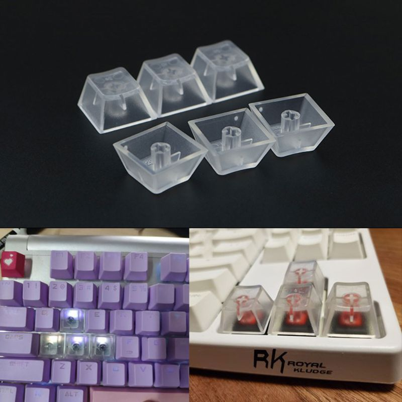 10Pcs Transparent ABS Keycaps Mechanical Keyboard Keycaps Matte Backlit Keycaps