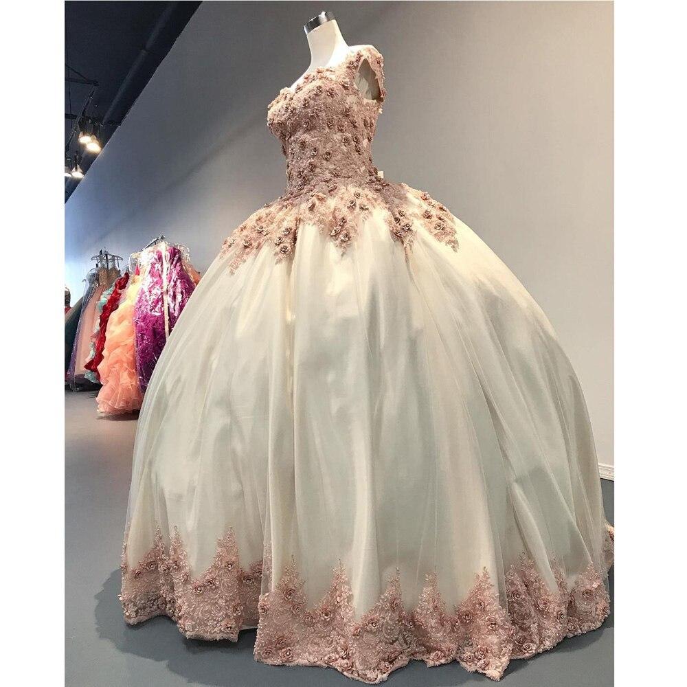3D-Floral Appliques Quinceanera robes 2020 nouveauté personnaliser Corset grande taille Robe de bal Robe de bal douce 16 fête