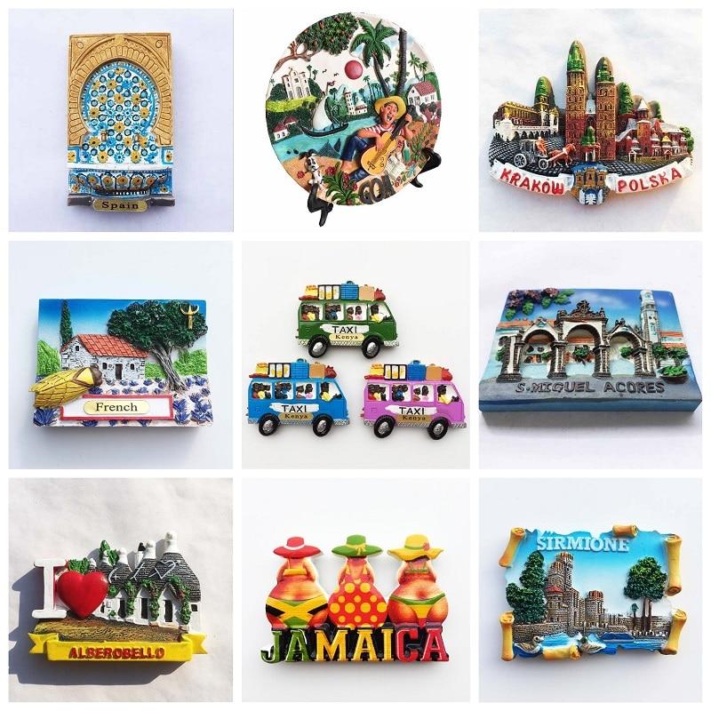 3D Fridge Magnets Tourist Souvenirs Collection Krakow Poland Spain Kenya Jerusalem Magnective Home Decoration Accessories Gifts