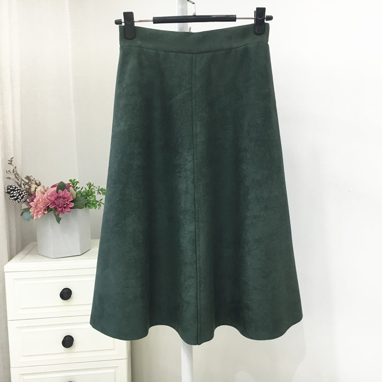 H980ecbbf2a26449f9b5fdc30970e49f7H - Neophil Women Suede High Waist Midi Skirt Summer Vintage Style Elastic Ladies A Line Black Green Flare Fashion Skirt  S29A4