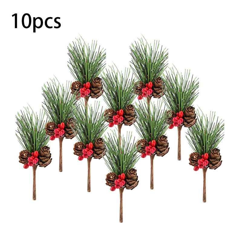 10pc Christmas Red Berry And Pine Cone Picks With Holly Branches Floral Decor