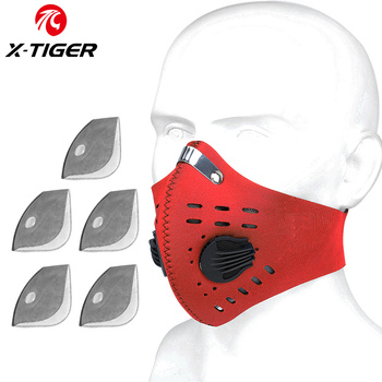 X-TIGER Cycling Face Mask PM 2.5 Bike Mask Activated Carbon Breathing Valve Sports Masks With Anti-Pollution Filter 23