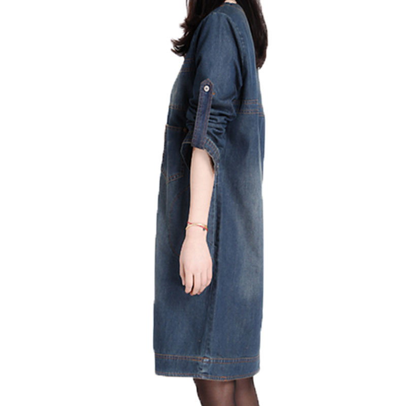 2020 Winter denim dress long sleeve korean loose dress large size women's retro jeans dress causal mini Vestido De Festa 15