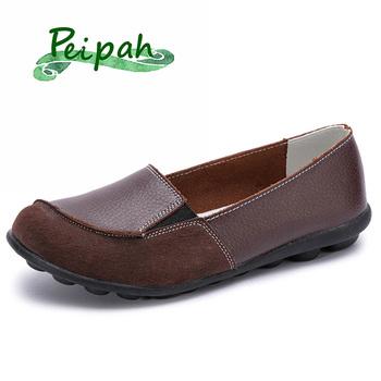 PEIPAH damskie buty ze skóry naturalnej stałe płytkie buty damskie wsuwane płaskie baletki trampki Moccains damskie oxfordy tanie i dobre opinie Podstawowe Prawdziwej skóry Skóra bydlęca RUBBER Slip-on Pasuje prawda na wymiar weź swój normalny rozmiar Na co dzień