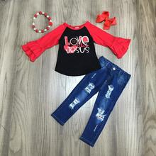 new Valentines day spring outfit children cotton love like Jesus heart shape clothes ruffles jeans pants match accessories