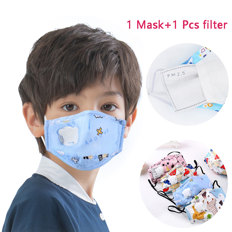 Cartoon Mouth Mask Children PM2.5 Kid Mask Masks With Breath Valve Activated Carbon Filter Breathable Mask Child Protective Mask