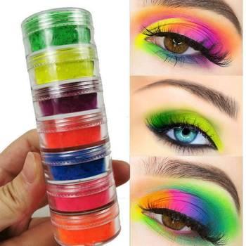 6 colores/lote de sombra de ojos en polvo de neón, pigmento mate, sombra de ojos fácil de aplicar, sombra de ojos impermeable, maquillaje, sombras para ojos