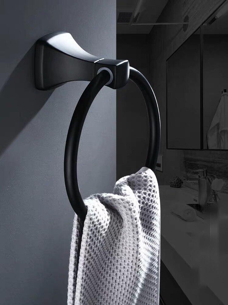 Ванная Черный Алюминий полотенце кольцо круглый перфорированный умывальник органайзер полка настенный навесной