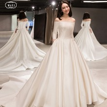 WAYJ New Wedding Dress White Long Sleeve Satin Off-The-Shoulder Lace-Up Trailing Lace Fashion Simple Elegant Bride Wedding Gowns(China)