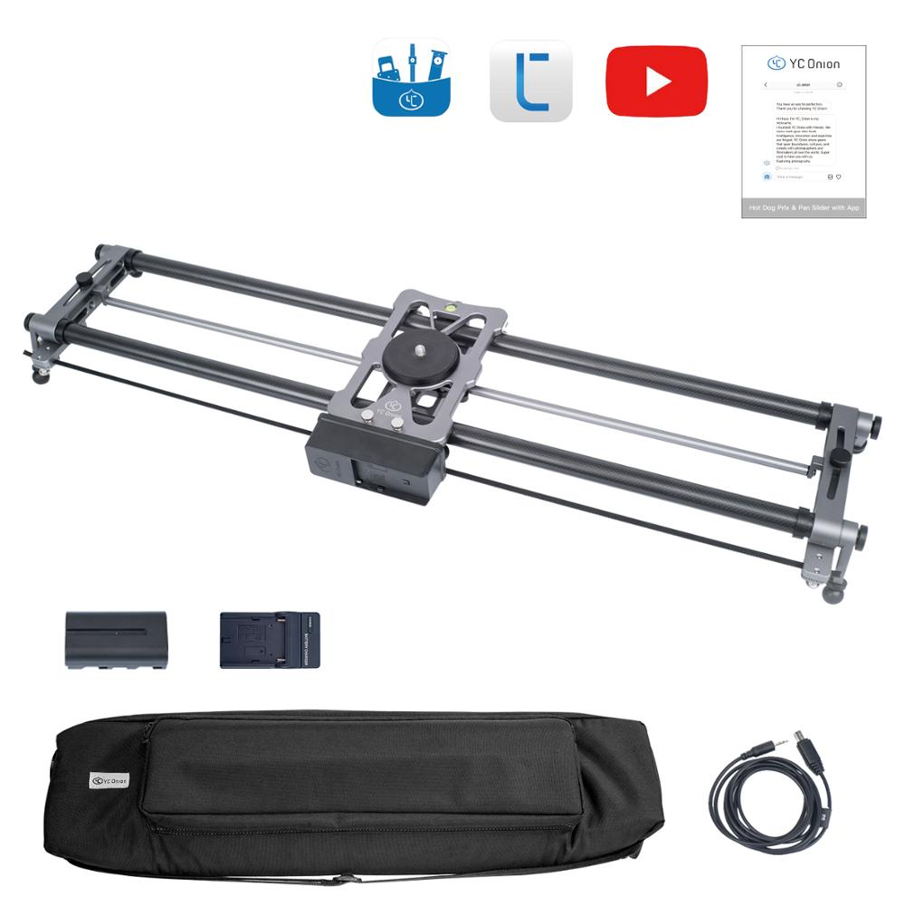 YC Onion Camera Slider Motorized Dolly Track Rail Video Timelapse Panning Hot Dog Parallax Panorama Slider with App Motorized(China)