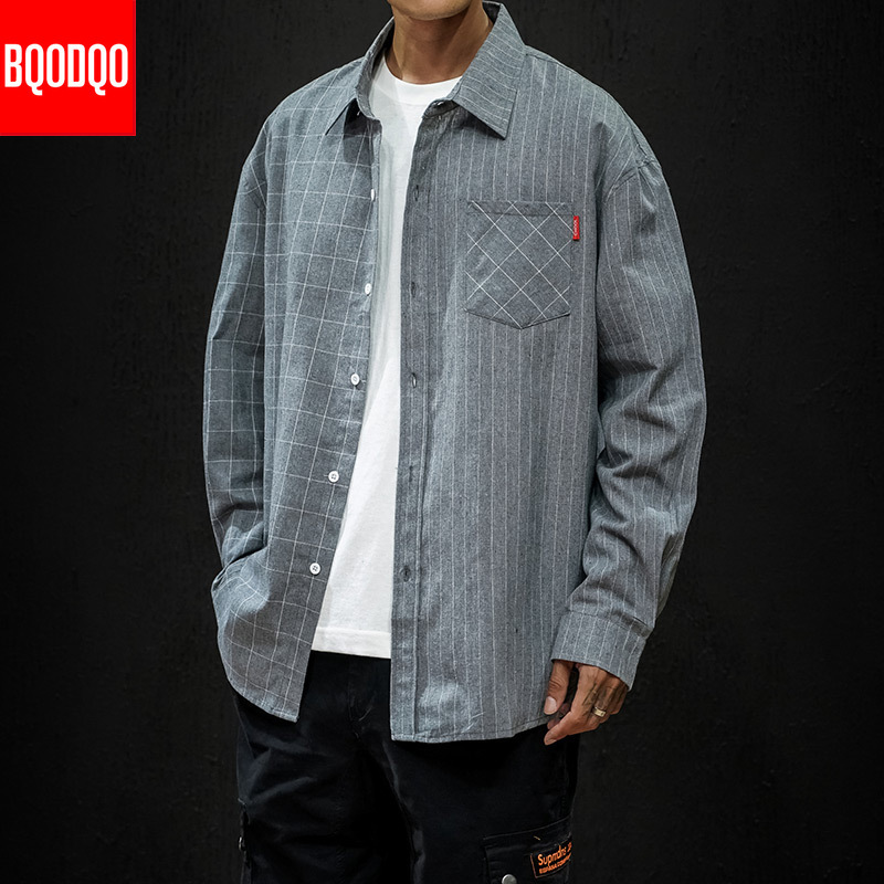 Men 5XL Cargo Shirts Japan Cotton Stiped Plaid Streetwear Black Casual Shirt Male Autumn Oversize Vintage Long Sleeve Blouse Top
