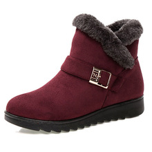 Fashion Women Boots Snow Boots Warm Fur Winter Shoes Wedge Ankle Boots Women Booties Suede Female Winter Boots Bota Women Shoes