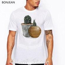 vintage tshirt men Cute cactus printed t-shirt camisetas hombre art aesthetic clothes funny t shirt homme tumblr tops tee